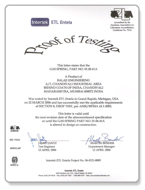 Balaji Engineering Pvt. Ltd. - Test Certificate